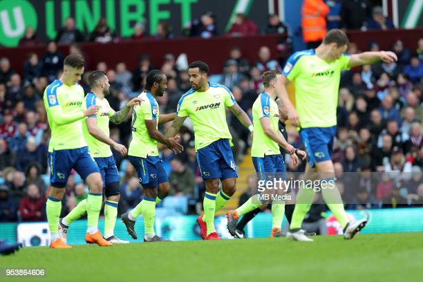 Aston Villa v Derby County Sky Bet ChampionshipnBIRMINGHAM ENGLAND APRIL 28 Derby players celebrate after Cameron Jerome opened the scoring at Villa...