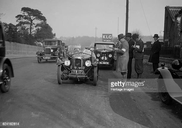 Derby Sports Riley Monaco and Morris Cowley saloon at the JCC HalfDay Trial 1930 Artist Bill BrunellDerby Sports 1928 1100 cc Reg No YW17 Entry No 1...