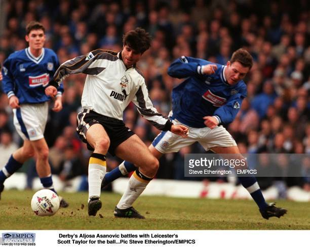 Derby's Aljosa Asanovic battles with Leicester's Scott Taylor for the ball