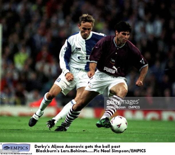 Derby's Aljosa Asanovic keeps the ball away from Blackburn's Lars Bohinen