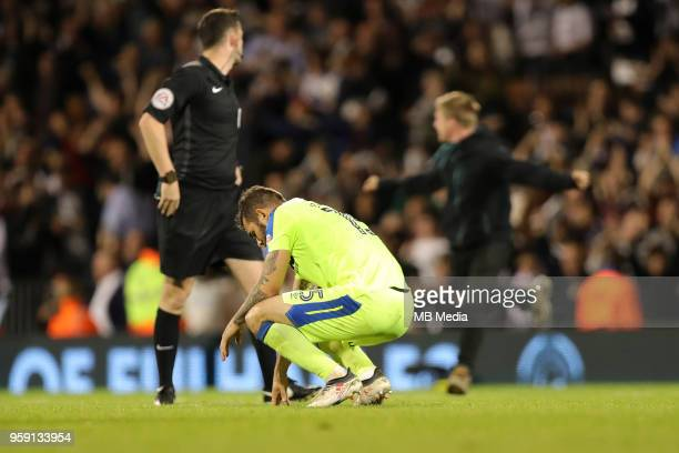 Derby's Bradley Johnson is dejected at the end of the game during the Sky Bet Championship Play Off Semi Final Second Leg on May 14, 2018 at Craven...