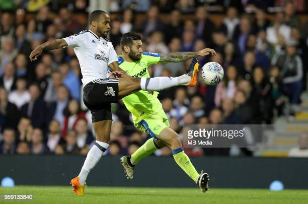 Derby's Bradley Johnson is tackled by Fulham's Denis Odoi during the Sky Bet Championship Play Off Semi Final Second Leg on May 14 2018 at Craven...