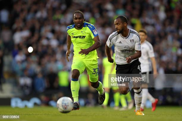 Derby's Cameron Jerome chases down the ball during the Sky Bet Championship Play Off Semi Final Second Leg on May 14 2018 at Craven Cottage in...