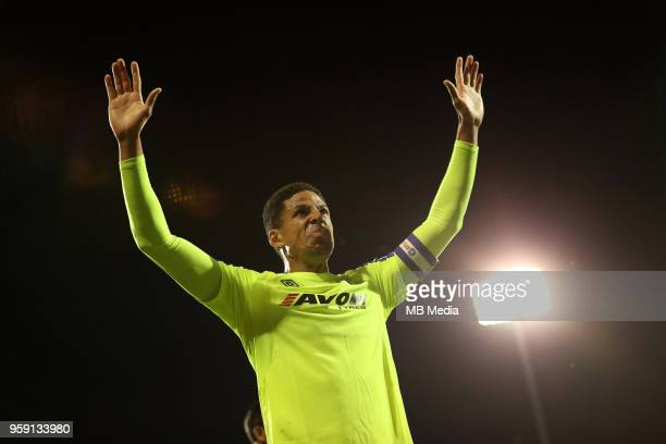 Derby's Curtis Davies thanks the fans at the end of the game during the Sky Bet Championship Play Off Semi Final Second Leg on May 14 2018 at Craven...
