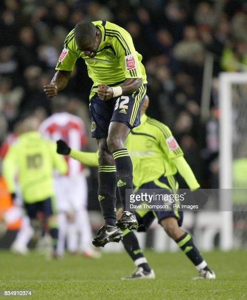 Derby's Darren Powell celebrates their winning goal scored by Nathan Ellington during the Carling Cup Quarter Final match at the Britannia Stadium,...