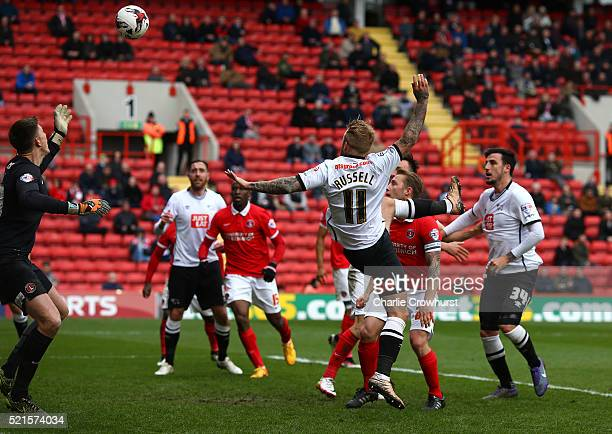 Derby's Johnny Russell heads the ball in to score the first goal of the game during the Sky Bet Championship match between Charlton Athletic and...