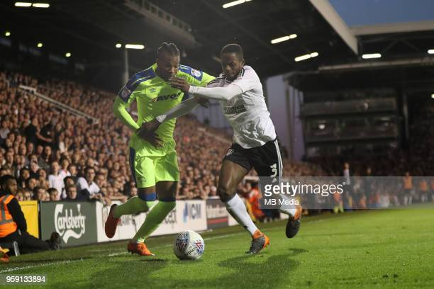 Derby's Kasey Palmer tries go get past Fulham's Aboubakar Kamara during the Sky Bet Championship Play Off Semi Final Second Leg on May 14 2018 at...