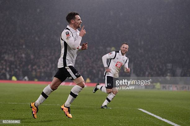 Derby's Scottish defender Craig Bryson celebrates with Derby's Scottish striker Johnny Russell after scoring their second goal during the English FA...
