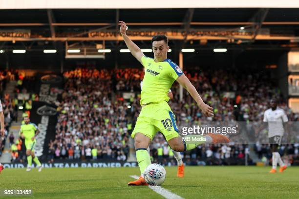 Derby's Tom Lawrence tries a shot on goal during the Sky Bet Championship Play Off Semi Final Second Leg on May 14 2018 at Craven Cottage in...
