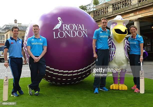 Derbyshire Captain Wayne Madsen, England player Ben Stokes, England Captain's Stuart Broad and Charlotte Edwards with Gilbert the Royal London Mascot...