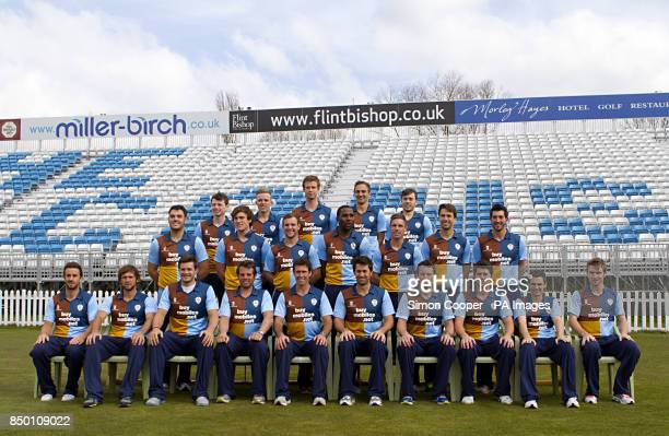 Derbyshire's back row Chris Durham Alasdair Evans Matt Higginbottom Ben Slater and Alex Hughes middle row Peter Burgoyne Tom Knight Tom Poynton...