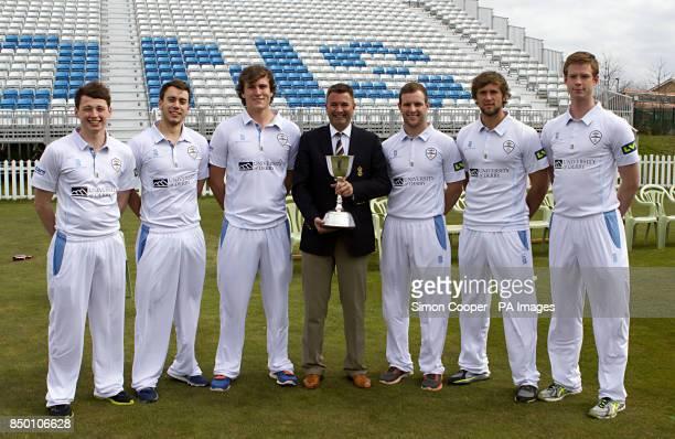 Derbyshire's Chris Durham Alex Hughes Tom Knight Chairman Chris Grant Tom Poynton Ross Whiteley and Matt Higginbottom pose with the LV= County...