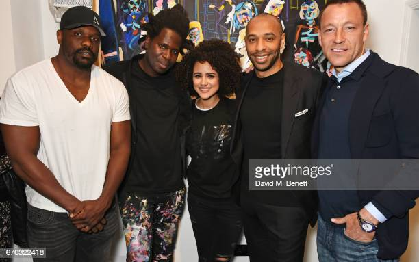 Dereck Chisora Bradley Theodore Nathalie Emmanuel Thierry Henry and John Terry attend a VIP private view for New York artist Bradley Theodore at...