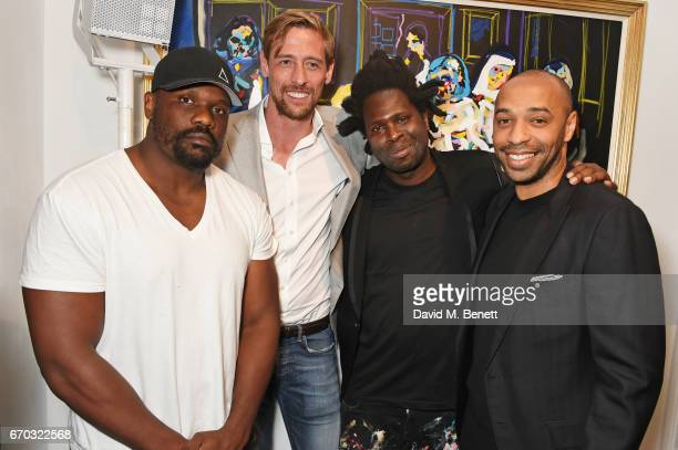 Dereck Chisora Peter Crouch Bradley Theodore and Thierry Henry attend a VIP private view for New York artist Bradley Theodore at Maddox Gallery on...