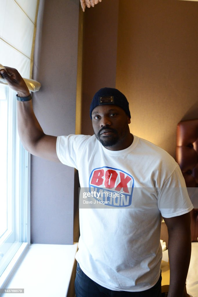 Dereck Chisora poses in his suite at The Sanctum Hotel to promote the Mayweather vs Catto fight on Boxnation on May 3, 2012 in London, England.