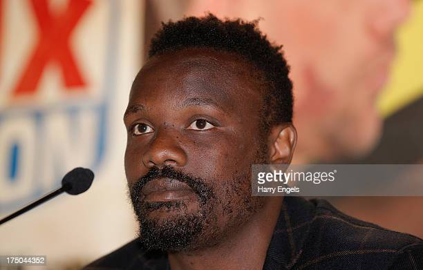 Dereck Chisora speaks during a press conference organised by boxing promoter Frank Warren at The Copper Box on July 30 2013 in London England