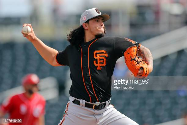 Dereck Rodriguez of the San Francisco Giants pitches during a Spring Training game against the Cincinnati Reds on Tuesday February 26 2019 at...