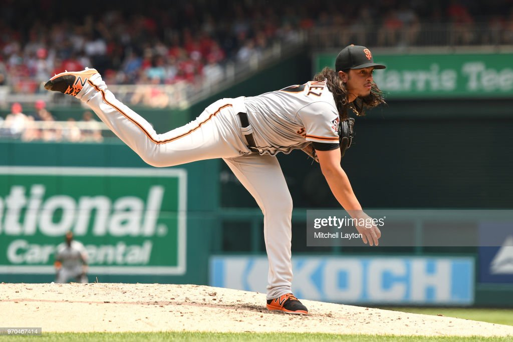Dereck Rodriguez #57 of the San Francisco Giants pitches in the third inning during a baseball game against the Washington Nationals at Nationals Park on June 9, 2018 in Washington, DC.