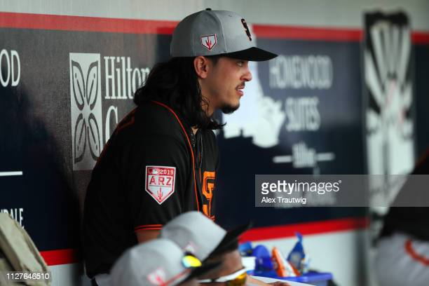 Dereck Rodriguez of the San Francisco Giants sits in the dugout during a Spring Training game against the Cincinnati Reds on Tuesday February 26 2019...