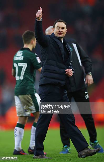 Derek Adams Manager of Plymouth Argyle shows appreciation to the fans after the final whistle during The Emirates FA Cup Third Round match between...