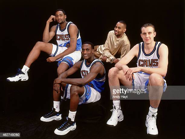 Derek Anderson Cedric Henderson Zydrunas Ilgauskas Brevin Knight of the Cleveland Cavaliers poses for a portrait prior to the Rookie Challenge during...