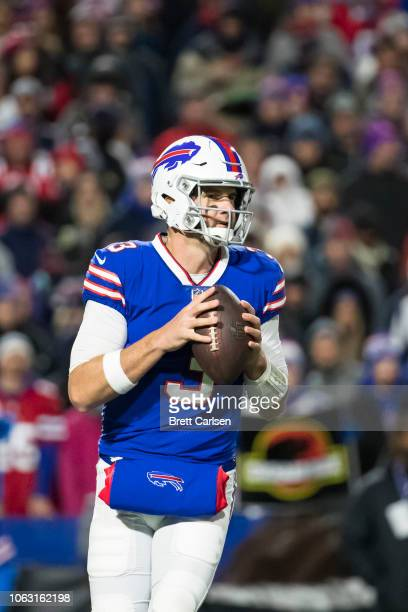 Derek Anderson of the Buffalo Bills drops back to pass during the first quarter against the New England Patriots at New Era Field on October 29 2018...