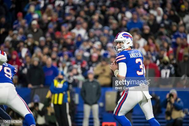 Derek Anderson of the Buffalo Bills drops back to pass during the second quarter against the New England Patriots at New Era Field on October 29 2018...
