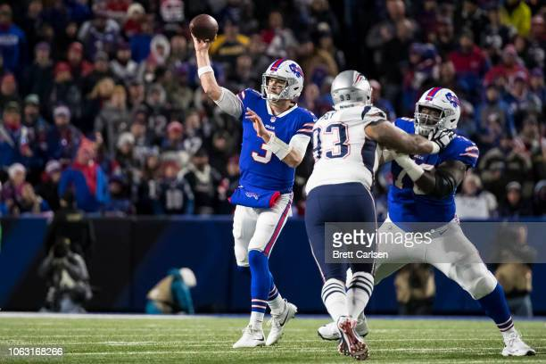 Derek Anderson of the Buffalo Bills passes the ball during the first quarter against the New England Patriots at New Era Field on October 29 2018 in...