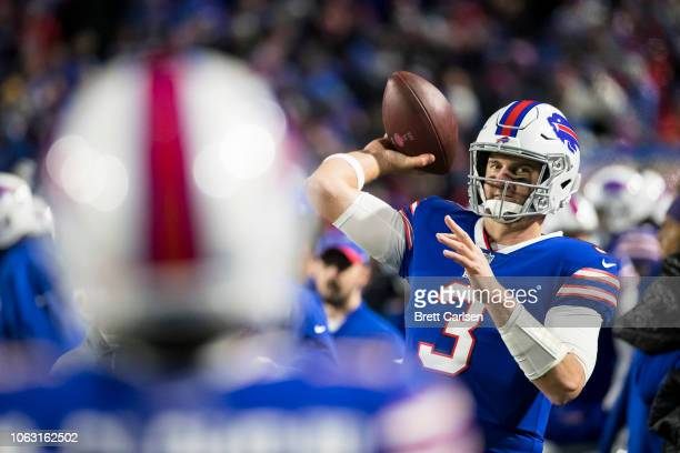 Derek Anderson of the Buffalo Bills warms up on the sideline during the game against the New England Patriots at New Era Field on October 29 2018 in...