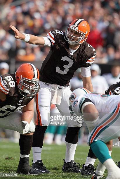 Derek Anderson of the Cleveland Browns calls the play during the NFL game against the Miami Dolphins at Cleveland Browns Stadium October 14 2007 in...