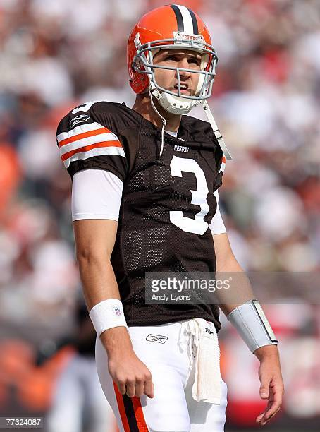 Derek Anderson of the Cleveland Browns looks on from the sidelines during the NFL game against the Miami Dolphins at Cleveland Browns Stadium October...
