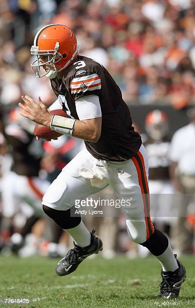 Derek Anderson of the Cleveland Browns runs the ball during the NFL game against the Miami Dolphins at Cleveland Browns Stadium October 14 2007 in...
