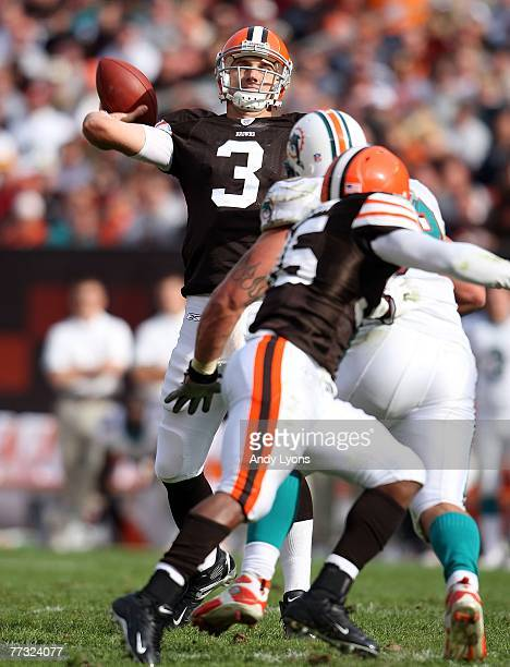 Derek Anderson of the Cleveland Browns throws a pass during the NFL game against the Miami Dolphins at Cleveland Browns Stadium October 14 2007 in...