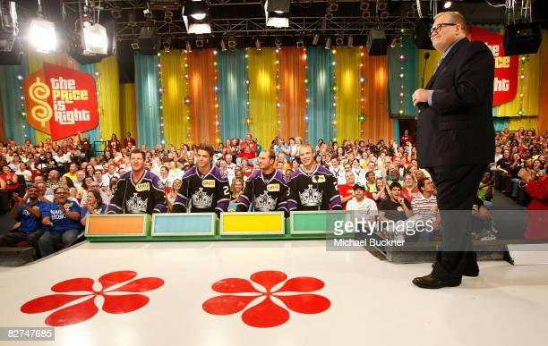 Derek Armstrong Denis Gauthier Kyle Calder and Dustin Brown tape a special hockeythemed showcase with host Drew Carey on The Price Is Right at CBS...