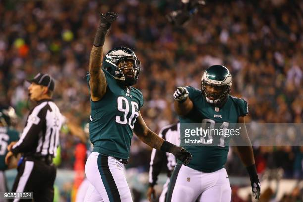 Derek Barnett and Fletcher Cox of the Philadelphia Eagles celebrate the play during the second quarter against the Minnesota Vikings in the NFC...