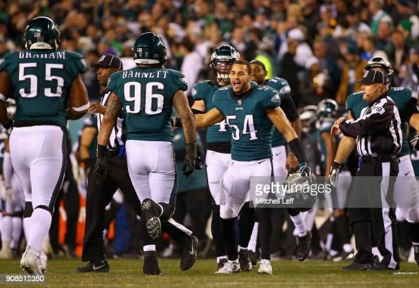 Derek Barnett and Kamu GrugierHill of the Philadelphia Eagles celebrate the play during the second quarter against the Minnesota Vikings in the NFC...