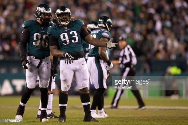 Derek Barnett and Timmy Jernigan of the Philadelphia Eagles look on during the NFC Wild Card game against the Seattle Seahawks at Lincoln Financial...