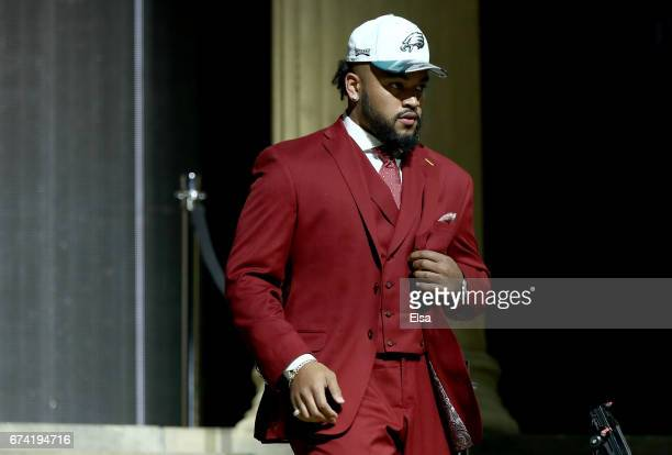 Derek Barnett of Tennessee reacts after being picked overall by the Philadelphia Eagles during the first round of the 2017 NFL Draft at the...