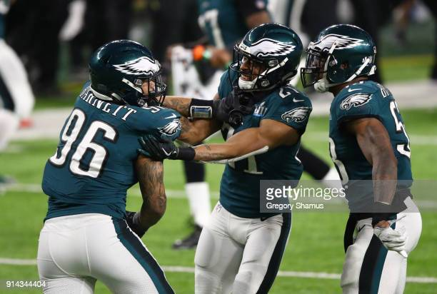 Derek Barnett of the Philadelphia Eagles celebrates recovering a fumble with Patrick Robinson during the fourth quarter against the New England...