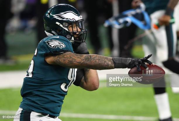 Derek Barnett of the Philadelphia Eagles celebrates recovering a fumble during the fourth quarter against the New England Patriots in Super Bowl LII...