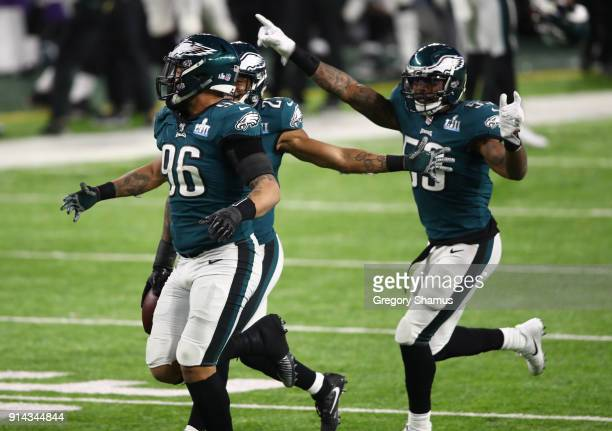 Derek Barnett of the Philadelphia Eagles celebrates recovering a fumble with Patrick Robinson and Nigel Bradham during the fourth quarter against the...