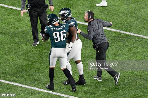 Derek Barnett of the Philadelphia Eagles celebrates with teammates after a fumble by Tom Brady of the New England Patriots during the fourth quarter...
