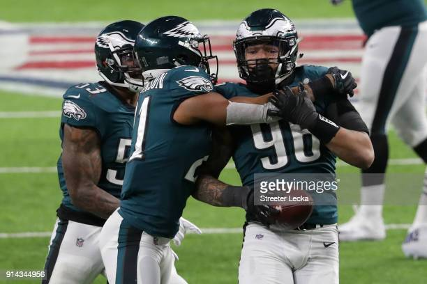 Derek Barnett of the Philadelphia Eagles is congratulated by his teammates after recovering a fumble late in the fourth quarter against the New...