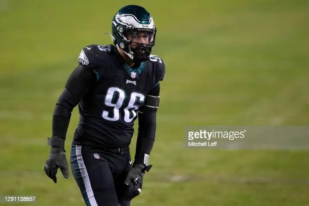 Derek Barnett of the Philadelphia Eagles looks on against the New Orleans Saints at Lincoln Financial Field on December 13, 2020 in Philadelphia,...