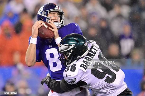 Derek Barnett of the Philadelphia Eagles sacks Daniel Jones of the New York Giants during the second half at MetLife Stadium on December 29, 2019 in...