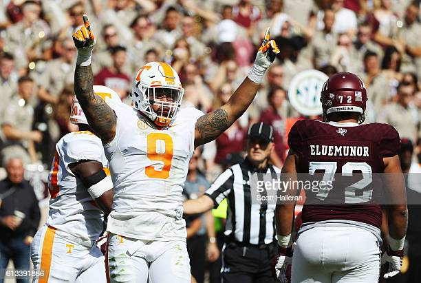 Derek Barnett of the Tennessee Volunteers celebrates a tackle in the first half of their game against the Texas AM Aggies at Kyle Field on October 8...