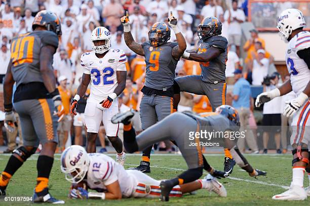 Derek Barnett of the Tennessee Volunteers celebrates after sacking Austin Appleby of the Florida Gators in the second half at Neyland Stadium on...