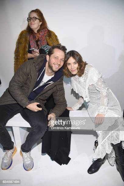 Derek Blasberg and Alexa Chung attend the Calvin Klein Collection Front Row during New York Fashion Week on February 10 2017 in New York City