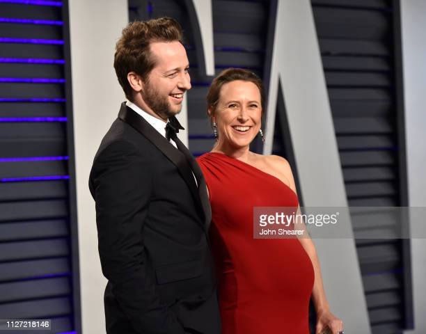 Derek Blasberg and Anne Wojcicki attend the 2019 Vanity Fair Oscar Party hosted by Radhika Jones at Wallis Annenberg Center for the Performing Arts...
