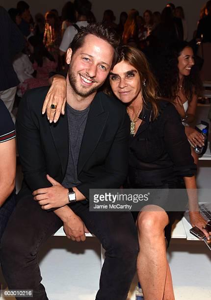 Derek Blasberg and Carine Roitfeld attend the Altuzarra fashion show during New York Fashion Week September 2016 at Spring Studios on September 11...